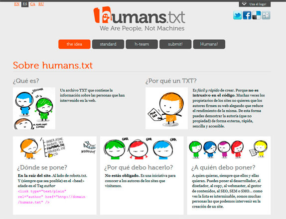 Página web de humans.txt