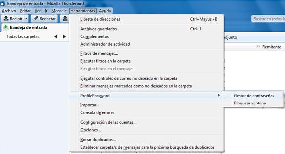 Mozilla Thunderbird ProfilePassword Gestor de contraseñas
