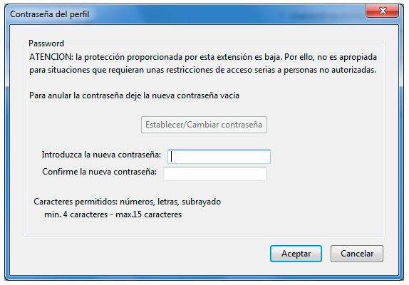Mozilla Thunderbird ProfilePassword Opciones