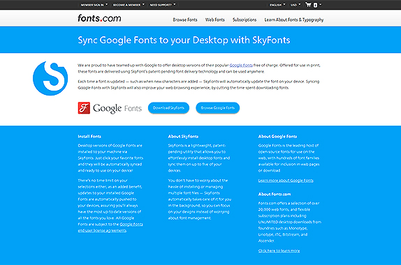 Google Fonts SkyFonts